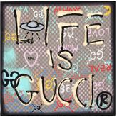 Gucci Ghost Life Is Print Silk Scarf