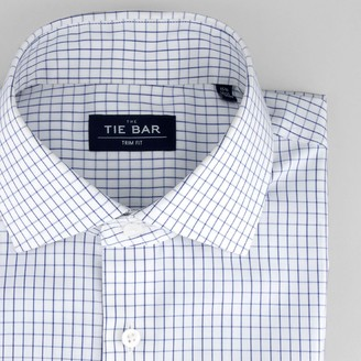 Tie Bar Classic Check Blue Non-Iron Dress Shirt