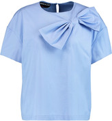 Rochas Bow-embellished stretch-cotton poplin top