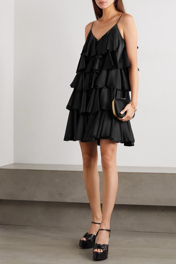 Thumbnail for your product : Balmain Tiered Ruffled Silk-satin Mini Dress - Black