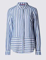 Per Una Linen Rich Contrasting Striped Shirt
