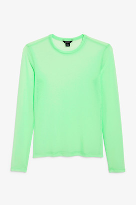 Monki Mesh long sleeve tee
