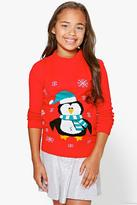 Boohoo Girls Penguin Christmas Jumper