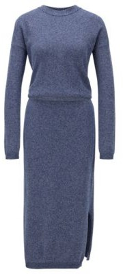 HUGO BOSS Crew-neck knitted dress in mouline cotton