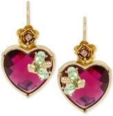 Betsey Johnson Gold-Tone Pink Crystal Heart Drop Earrings