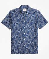 Brooks Brothers Chambray Stamp Floral Sport Shirt