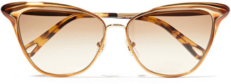 Chloé Cat-eye Style Gold-tone And Acetate Sunglasses