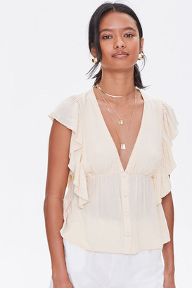 Forever 21 Plunging Embroidered Top