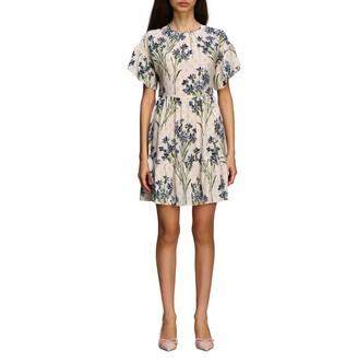 RED Valentino Silk Dress With Cornflower Print