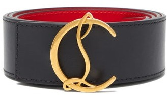 Christian Louboutin Monogram-buckle Leather Belt - Mens - Black