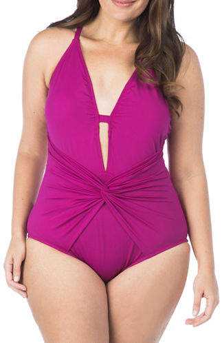 La Blanca Plus Plus Twist-Front Mio One-Piece Swimsuit