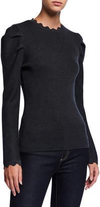 Elie Tahari Chiara Long-Sleeve Scallop-Edge Wool Sweater