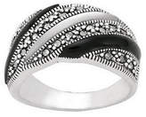 Mother of Pearl Suspicion Sterling Marcasite Onyx & Mother-of-P
