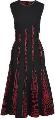 Bottega Veneta Polka-dot Crepe De Chine-paneled Cotton-blend Midi Dress