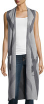 Neiman Marcus Printed Long Knit Vest, Gray