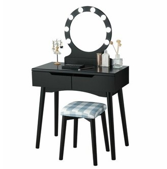 "Wrought Studioâ""¢ Cenat Solid Wood Vanity Set with Stool and Mirror Wrought Studioa Color: Black"