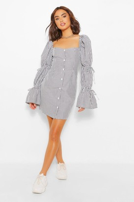 boohoo Stripe Puff Sleeve Shift Dress