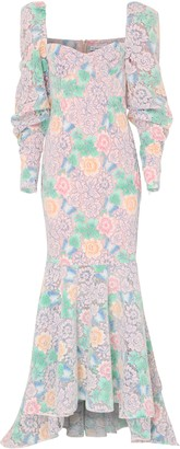True Decadence Pastel Floral Lace Floor Length Gown