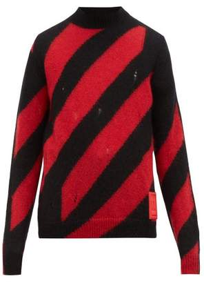 Off-White Off White Distressed Striped Mohair Blend Sweater - Mens - Black Red