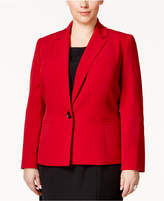 Kasper Plus Size One-Button Crepe Jacket