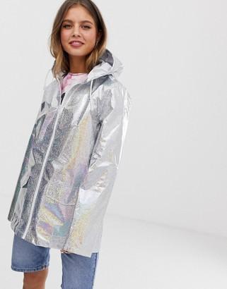 Brave Soul glitter holographic festival rain mac in silver
