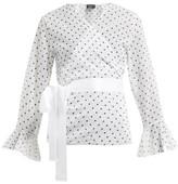Pepper & Mayne Dolce Polka Dot-print Chiffon Wrap Top - Womens - White Black