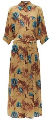 Raey Dolman-sleeve Hawaii Floral-print Silk Shirtdress - Womens - Blue Print