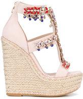Elie Saab embellished wedge sandals - women - Suede/Raffia/Leather - 36