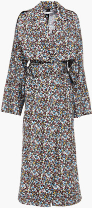 Victoria Beckham Belted Floral-print Shell Trench Coat
