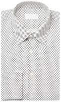 Prada Men's Spread Collar Cotton Dress Shirt Patterned White