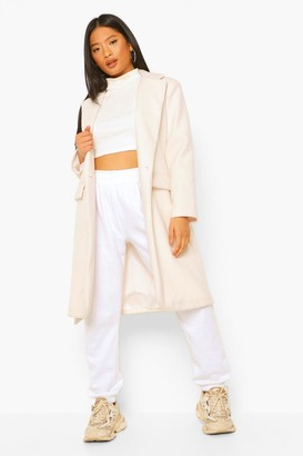 boohoo Petite Belted Button Up Wool Look Coat