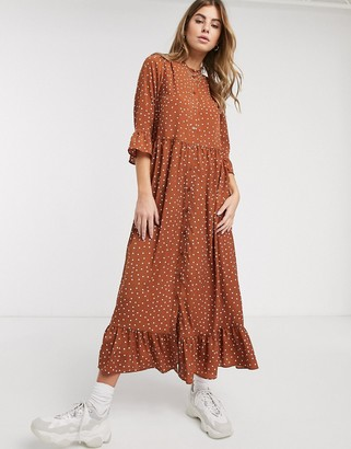 ASOS DESIGN button through tiered smock maxi dress in rust spot