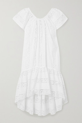 Miguelina Danica Crochet-paneled Embroidered Cotton-voile Dress - White