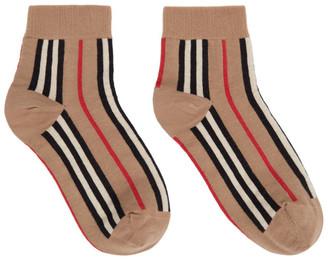 Burberry Beige Intarsia Icon Stripe Sock