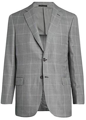 Brioni Windowpane Wool-Blend Suit Jacket