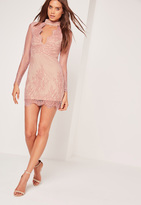 Missguided Long Sleeve Choker Neck Bodycon Dress Pink