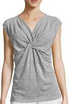 Liz Claiborne Sleeveless Knot-Front Top