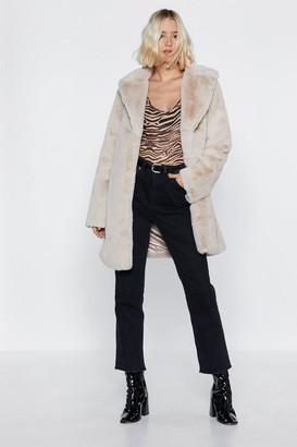 Nasty Gal Womens Happens Faux Fur a Reason Longline Coat - Beige - S/M
