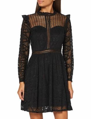 APART Fashion Women's Apart zauberhaftes Damen Kleid Spitzenkleid Partykleid Schwarz teilweise Transparent weiter Rockpart Festlich Special Occasion Dress