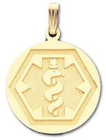 US Jewels And Gems 10k Yellow Gold Circle Medical Alert ID Pendant