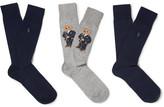 Polo Ralph Lauren Three-pack Cotton-blend Socks - Navy