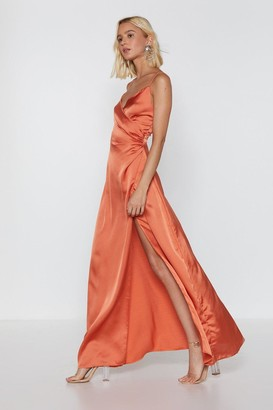 Nasty Gal Womens When the Moon's Out Satin Maxi Dress - Orange - 4
