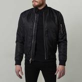 DSTLD Mens Nylon Bomber Jacket with Black Zippers in Black