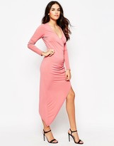 Glamorous V Neck Asymmetric Dress