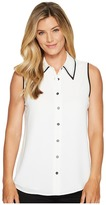 Vince Camuto Sleeveless Button Down Collared Blouse w/ Contrast Women's Blouse