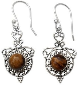 Novica Handmade Tiger's Eye Dangle Earrings