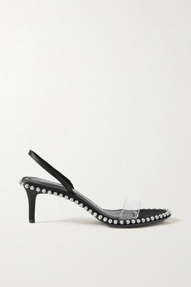 Alexander Wang Nova Low Crystal-embellished Satin And Pvc Slingback Sandals - Black