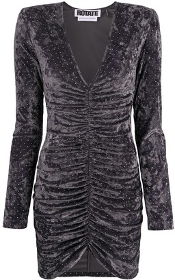 Rotate by Birger Christensen Sequin Velvet Ruched Dress