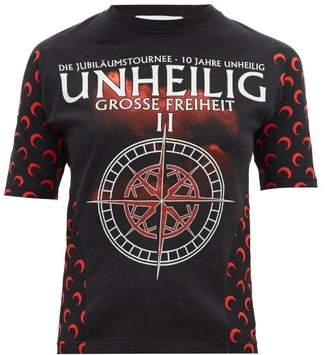 Marine Serre Upcycled Unheilig-print Jersey T-shirt - Womens - Black Multi