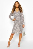 Thumbnail for your product : boohoo Bridesmaid Occasion Sequin Plunge Midi Dress